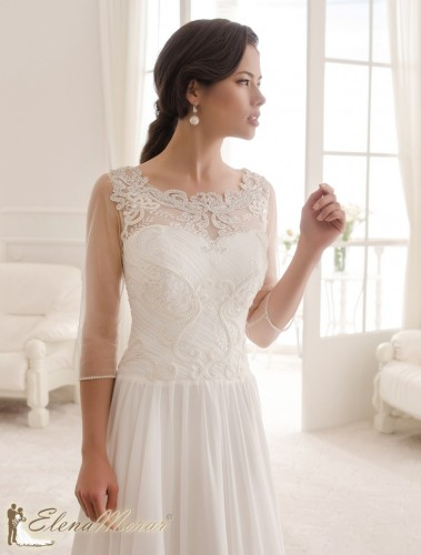 robe de mariage en mousseline haut dentelle manches 3 4 tanya. Black Bedroom Furniture Sets. Home Design Ideas