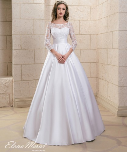 Robe de mariee princesse manche en dentelle