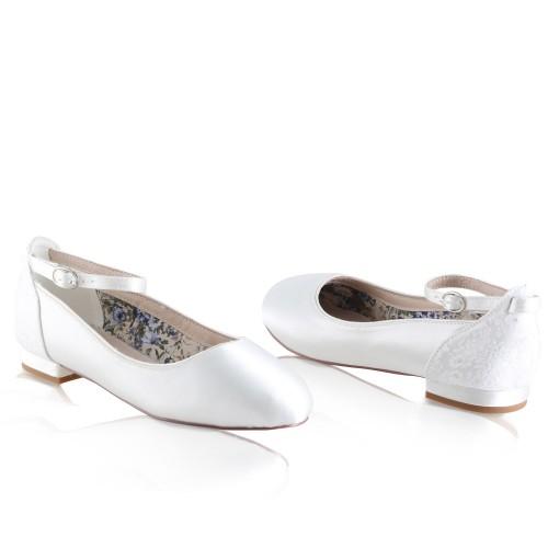 grande vente belles chaussures profiter de la livraison gratuite Ballerines mariée en satin et dentelle Cleo Perfect