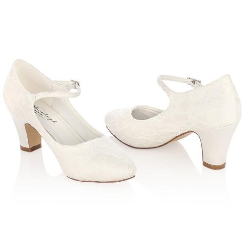 pas cher bien pas cher acheter Chaussure mariée en dentelle à talon large Agnes