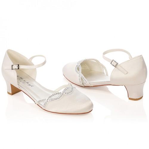 517ec3fa3768d1 Chaussure mariage petits talons avec cristal Annie. Appuyer pour agrandir ·  Chaussures de mariée ivoire ...