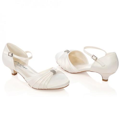 3ff960d627816 Chaussure mariage ivoire ou blanche en satin à bout rond talon 3 cm ...
