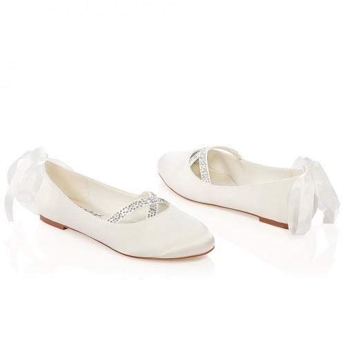 collection de remise bonne vente rechercher l'original Ballerines mariée avec strass et ruban Jenny