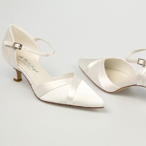 Chaussure mariage ivoire en satin à bout pointu talon 5 cm - Julia ...