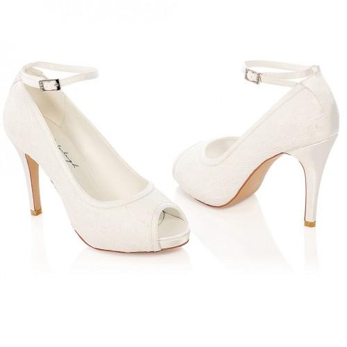 236d26ac1e10 Escaprins de mariage en dentelle et à bride Leila. Appuyer pour agrandir ·  Chaussures de mariée ivoire ou blanche Leila  Chaussures mariage bout ouvert  ...