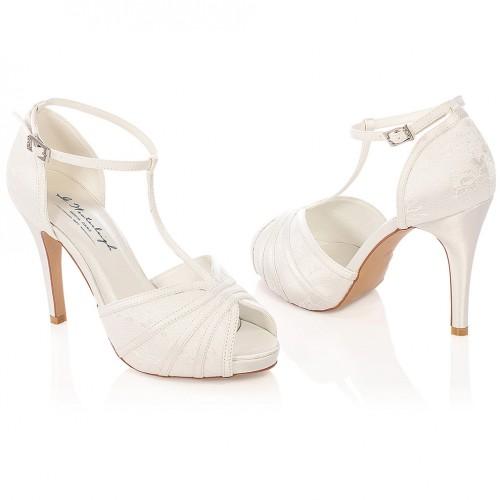 chaussure mariage ivoire en dentelle bout ouvert talon