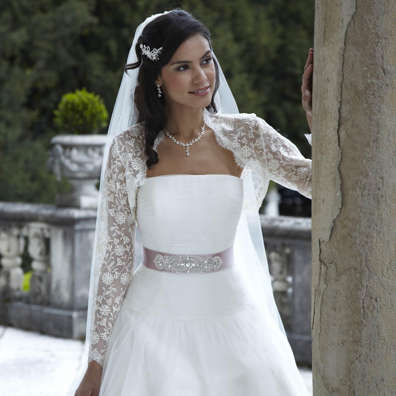 Bol ro mariage en dentelle manches longues instant for Longues robes de veste pour les mariages