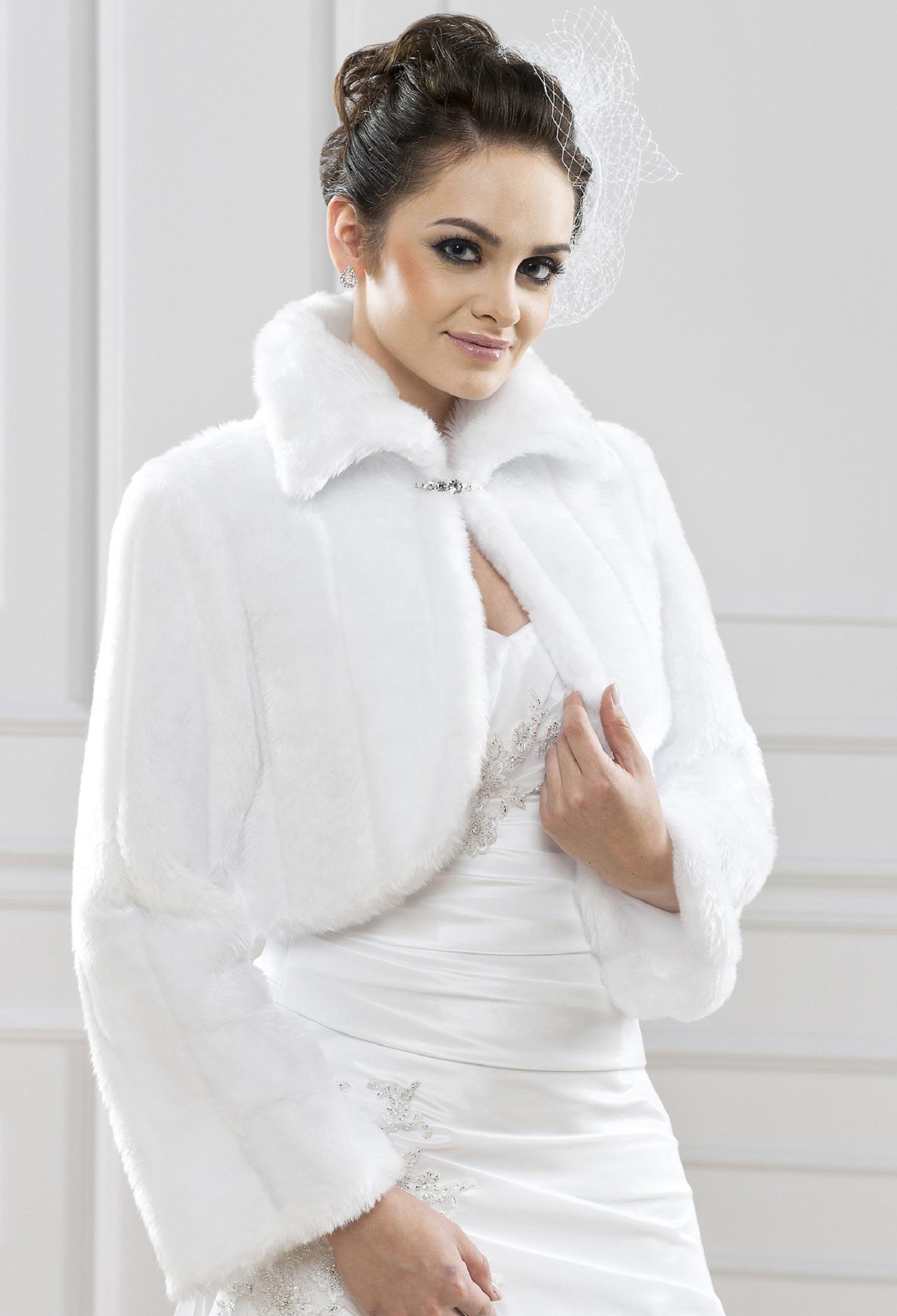 bolro mariage fausse fourrure ornella blanc - Bolero Mariage Blanc