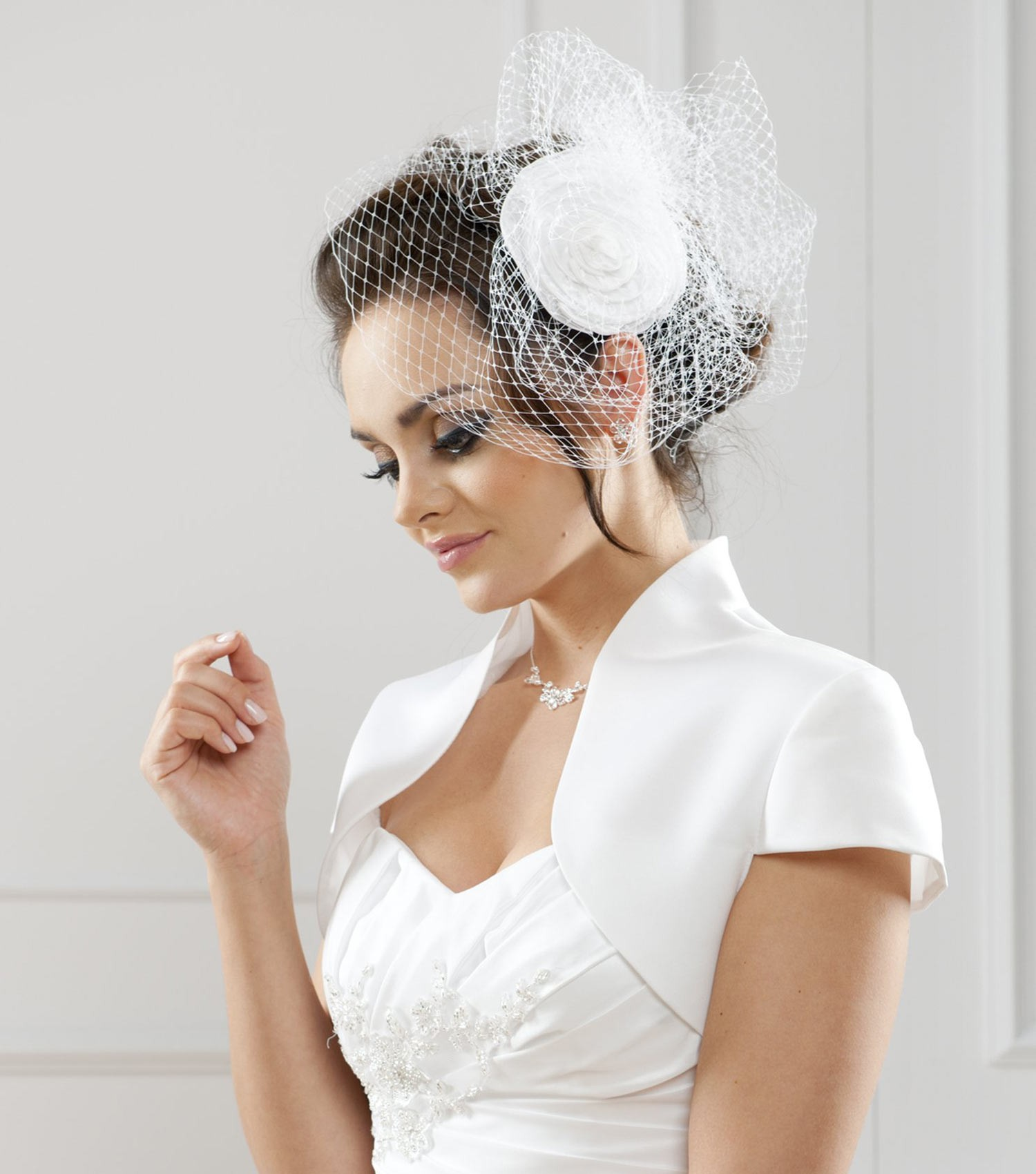 bolero mariage taffetas manches courtes giorgia - Bolero Mariage Blanc