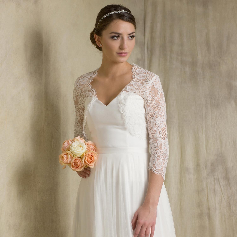 5e084a3db97 Boléro mariage dentelle manches 3 4 Sidonia