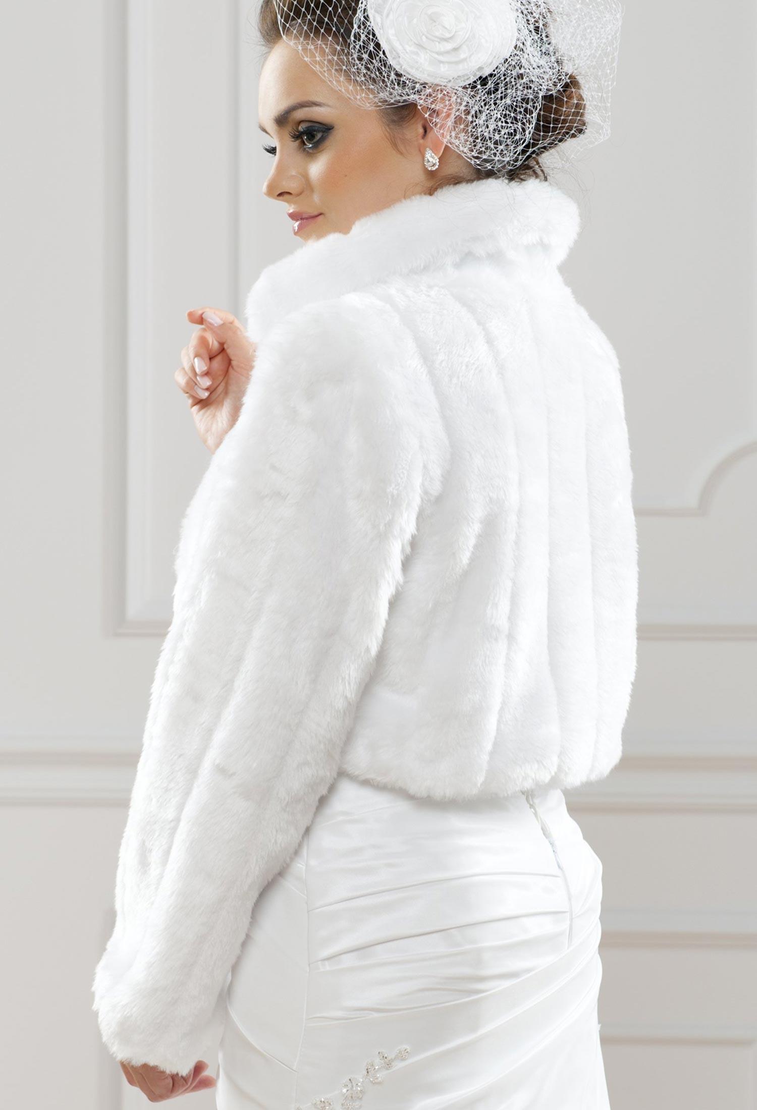 bolro marie fausse fourrure ornella blanc - Bolero Mariage Blanc