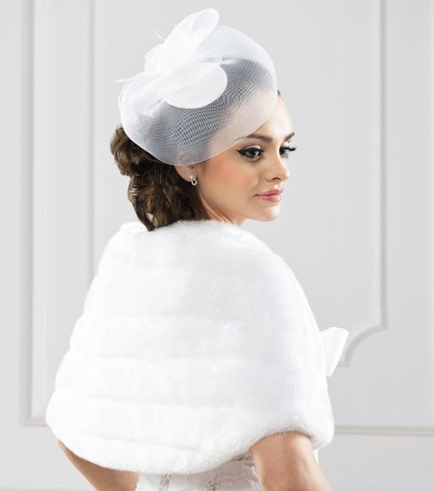 bolro marie faux vison selena blanc - Bolero Mariage Blanc