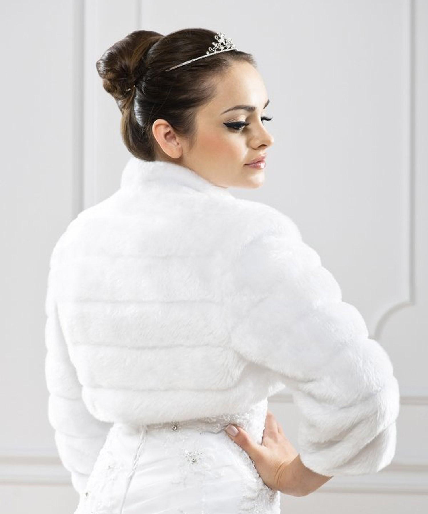 bolro marie fourrure blanc tania - Bolero Fourrure Mariage