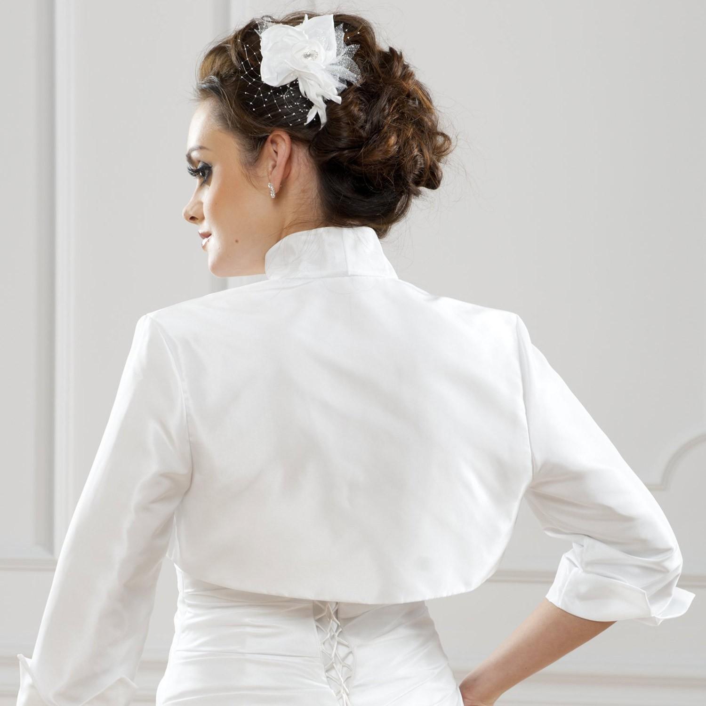 bolro marie satin elda blanc - Bolero Mariage Blanc
