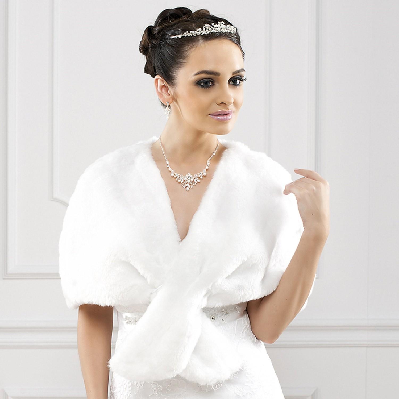 cape de mariage fausse fourrure bianca - Bolero Fourrure Mariage