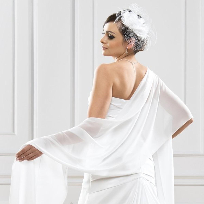 Etole de mari e blanc ivoire noir aur lia instant pr cieux - Chale blanc mariage ...