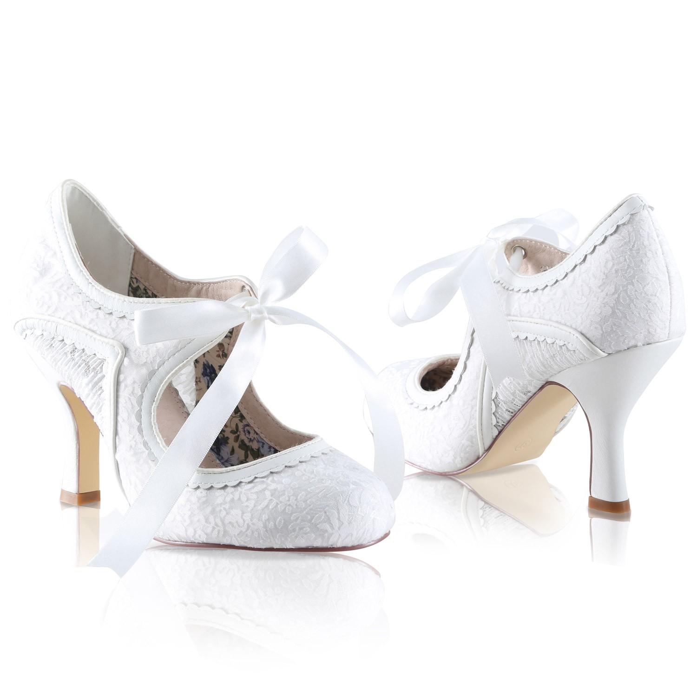 la meilleure attitude d4568 37176 Chaussures de mariée vintage dentelle et ruban Bianca Perfect
