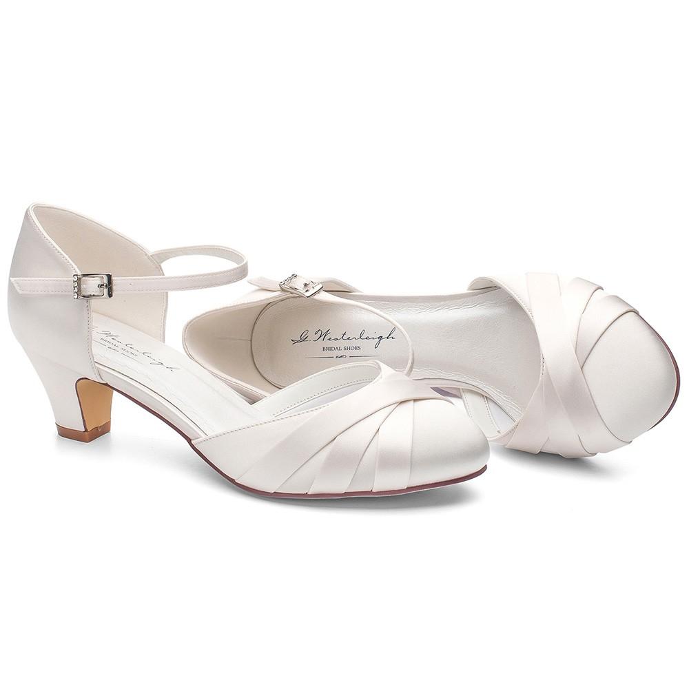 e5b990f372433 Chaussures de mariage satin ivoire petits talons Blanca
