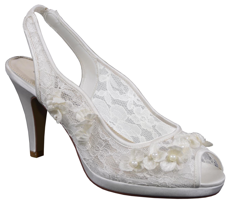 chaussure mariage en dentelle ivoire avec fleurs lottie. Black Bedroom Furniture Sets. Home Design Ideas