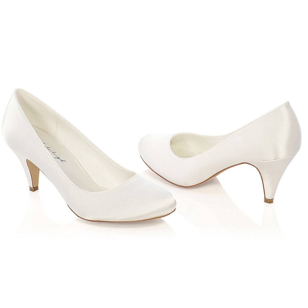 chaussure mariage ivoire ou blanc talon moyen diana - Chaussures Compenses Blanches Mariage
