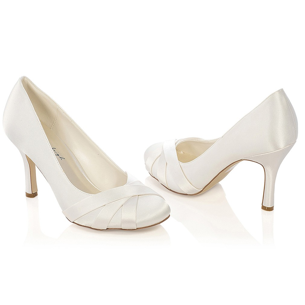 chaussures de marie ivoire ou blanche greta - Chaussures Compenses Blanches Mariage