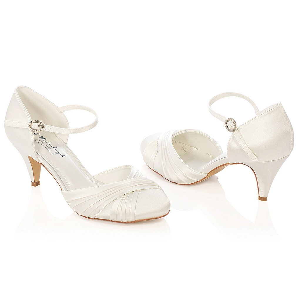 chaussure mariage satin ivoire ou blanc lilly - Chaussures Compenses Blanches Mariage