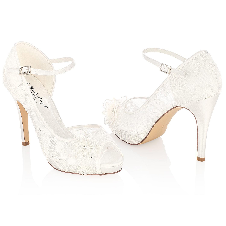 sélectionner pour véritable inégale en performance chaussures d'automne Escarpin mariage ivoire avec fleur en dentelle Lola