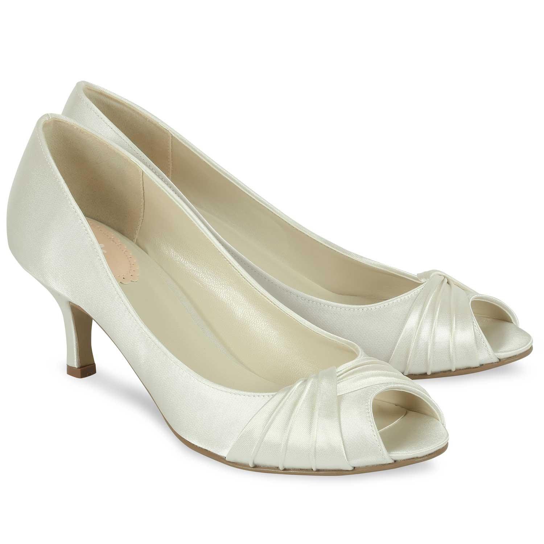 chaussure de mariage satin ivoire bout ouvert et petit talon romantic pink par paradox. Black Bedroom Furniture Sets. Home Design Ideas