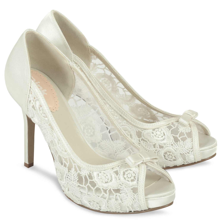 chaussure de mariage dentelle ivoire bout ouvert et talon haut zinnia pink par paradox. Black Bedroom Furniture Sets. Home Design Ideas