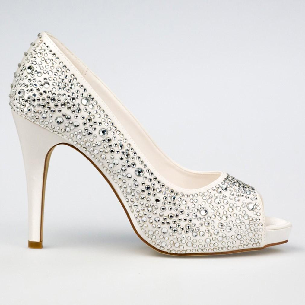 chaussure mariage ivoire en satin bout ouvert talon 11 cm roxanne westerleigh. Black Bedroom Furniture Sets. Home Design Ideas