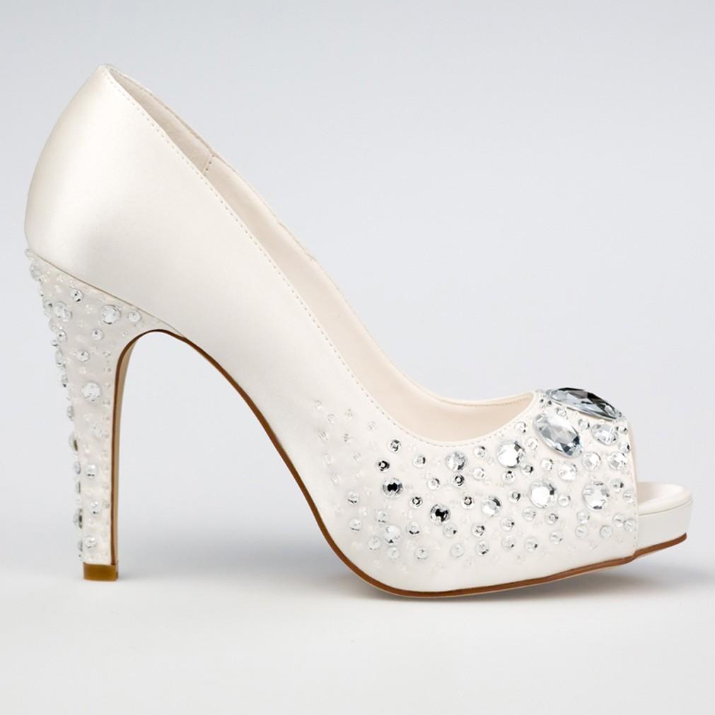 chaussure mariage ivoire en satin bout ouvert talon 11 cm victoria westerleigh. Black Bedroom Furniture Sets. Home Design Ideas