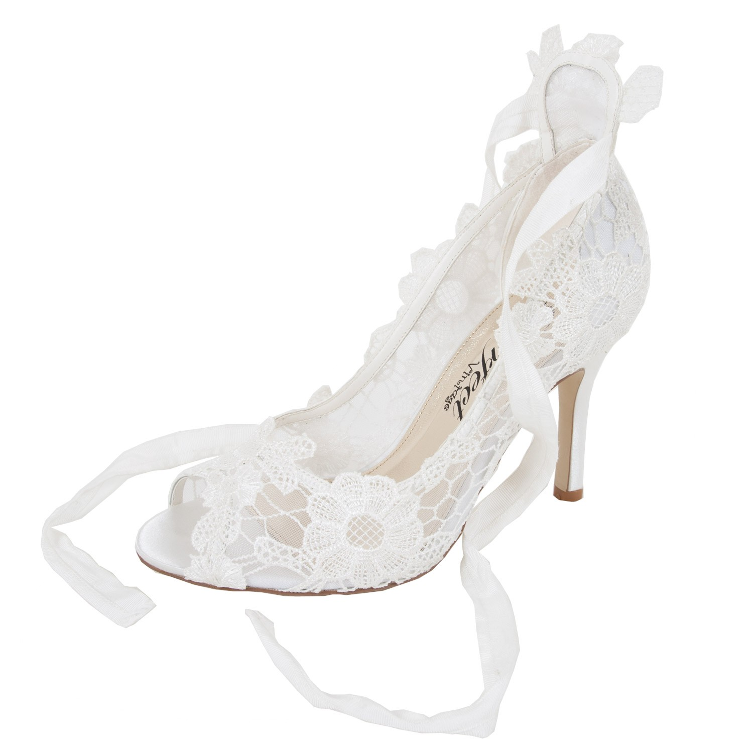 Chaussures mariage dentelle ruban à lacer