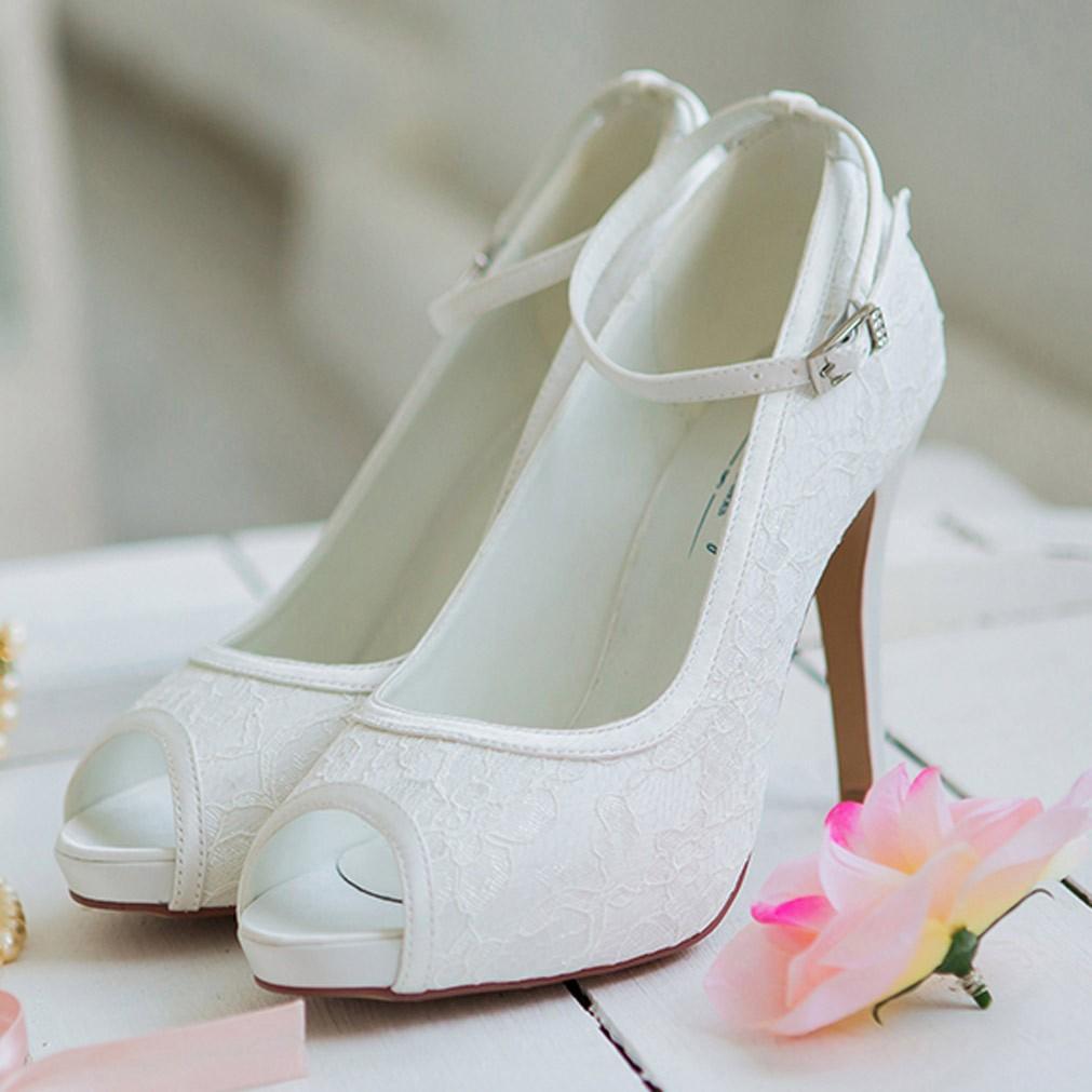 chaussure mariage ivoire ou blanche en dentelle bout ouvert talon 11 cm leila westerleigh. Black Bedroom Furniture Sets. Home Design Ideas