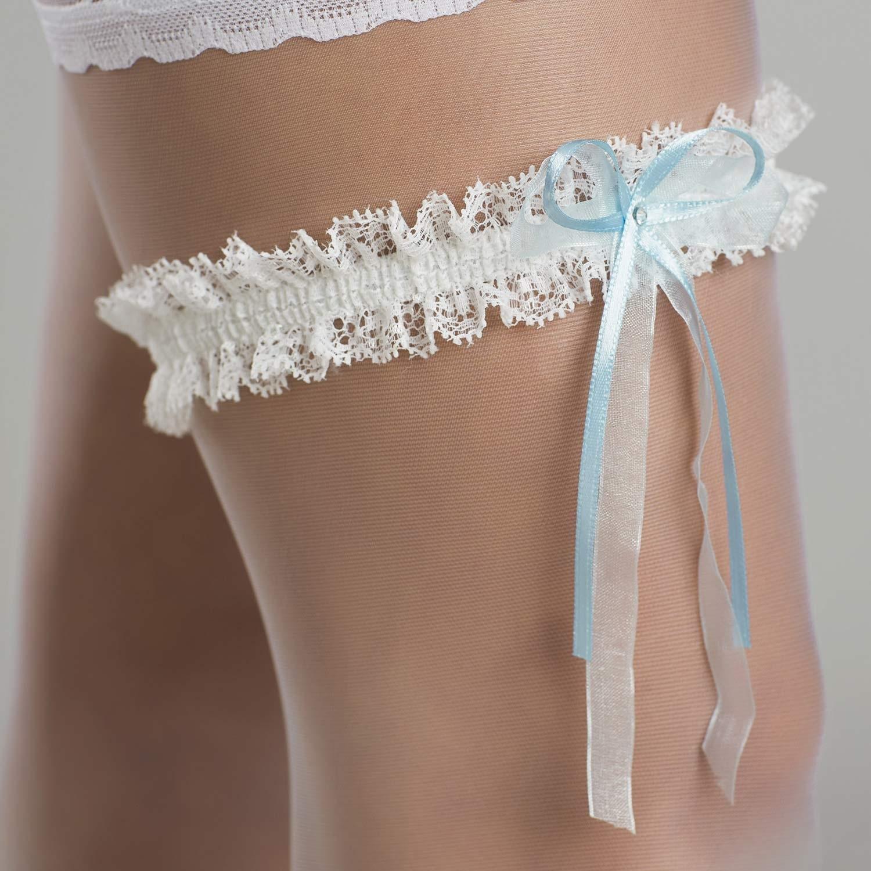jarretire mariage ivoire et bleu avec cristal swarovski - Achat Jarretire Mariage