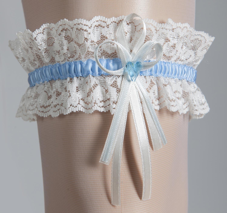 jarretire mariage ivoire coeur bleu cristal swarovski - Jarretiere Mariage