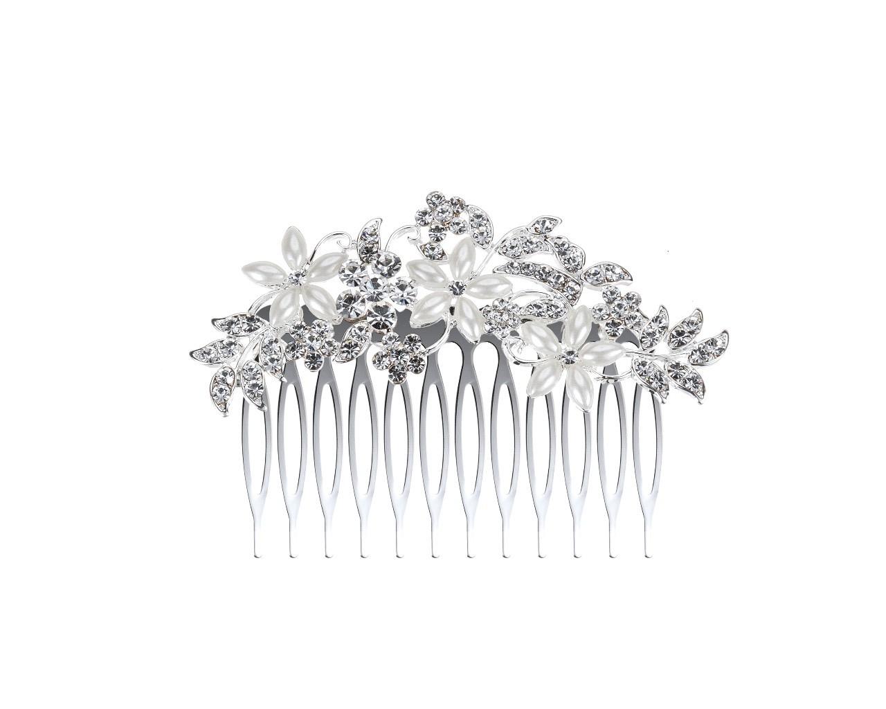 peigne de mariage jarosse avec fleurs en strass et perles ivoires. Black Bedroom Furniture Sets. Home Design Ideas