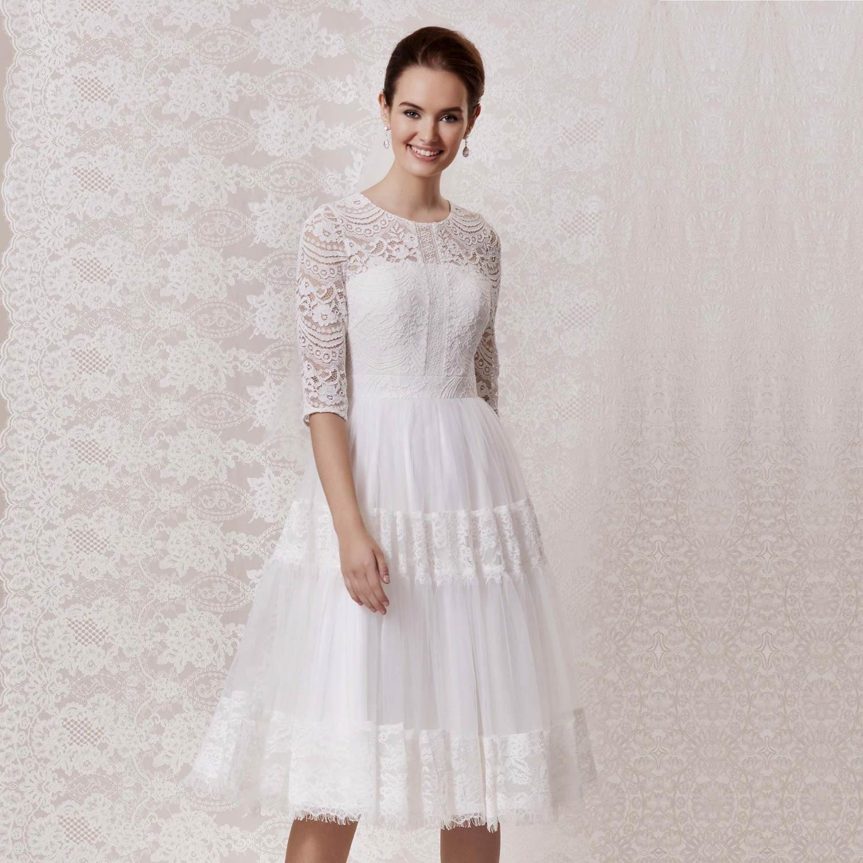 Robe de mariée bohème courte en dentelle
