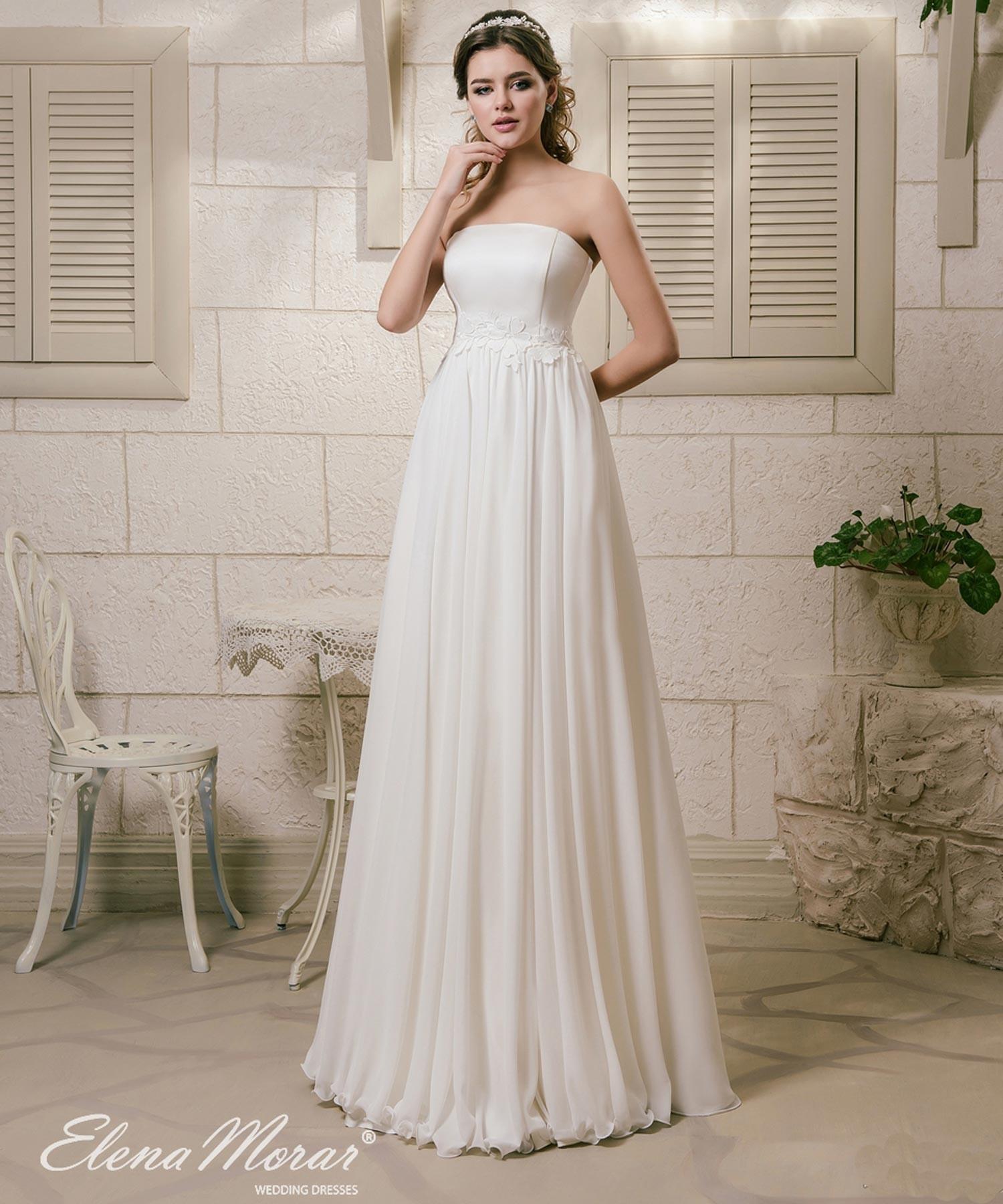 meilleur grossiste style le plus récent conception de la variété Robe de mariée en mousseline Nastia