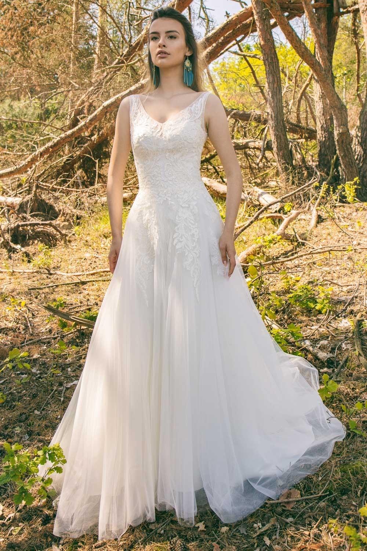 Robe de mariage princesse dentelle avec bretelles