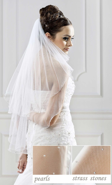 Voile de mari e ivoire ou blanc mi long perles et strass olivia - Comment mettre un voile d hivernage ...
