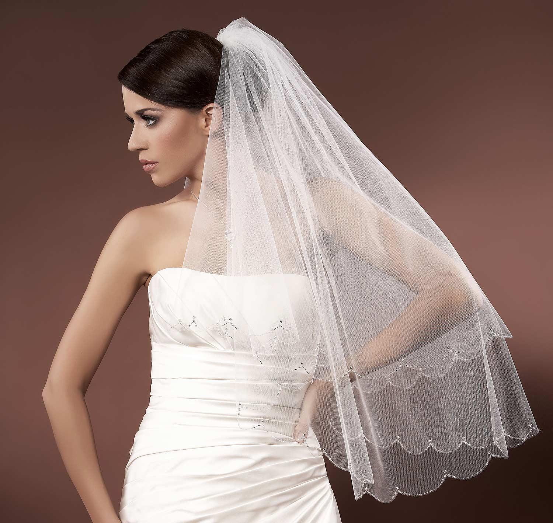 Voile mari e tulle italien ivoire ou blanc avec perles de - Voile de forcage au metre ...