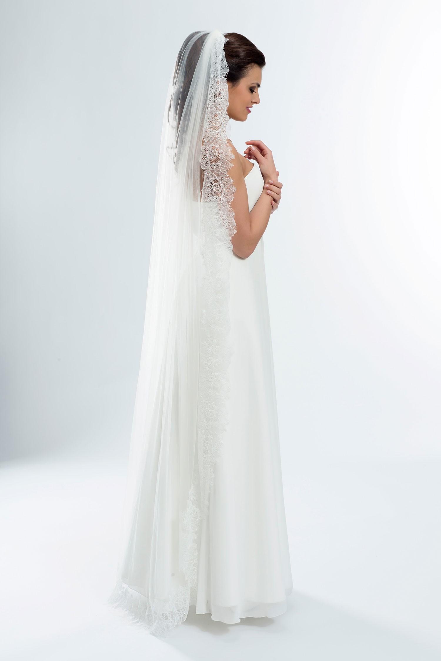 Voile de mariée long en dentelle sans rabat