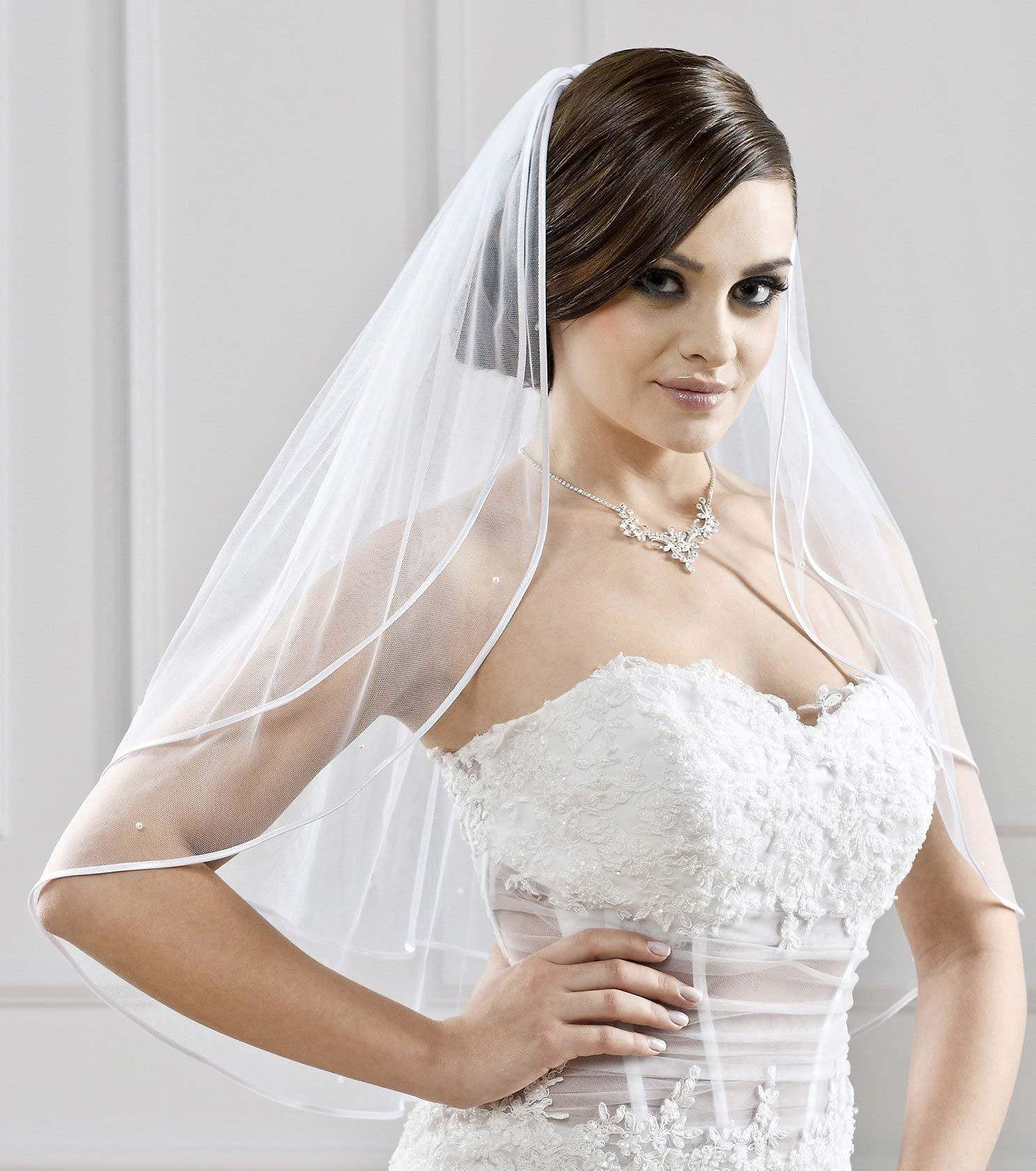 Voile mariage mi long ivoire ou blanc avec perles nacr es agata - Comment mettre un voile d hivernage ...