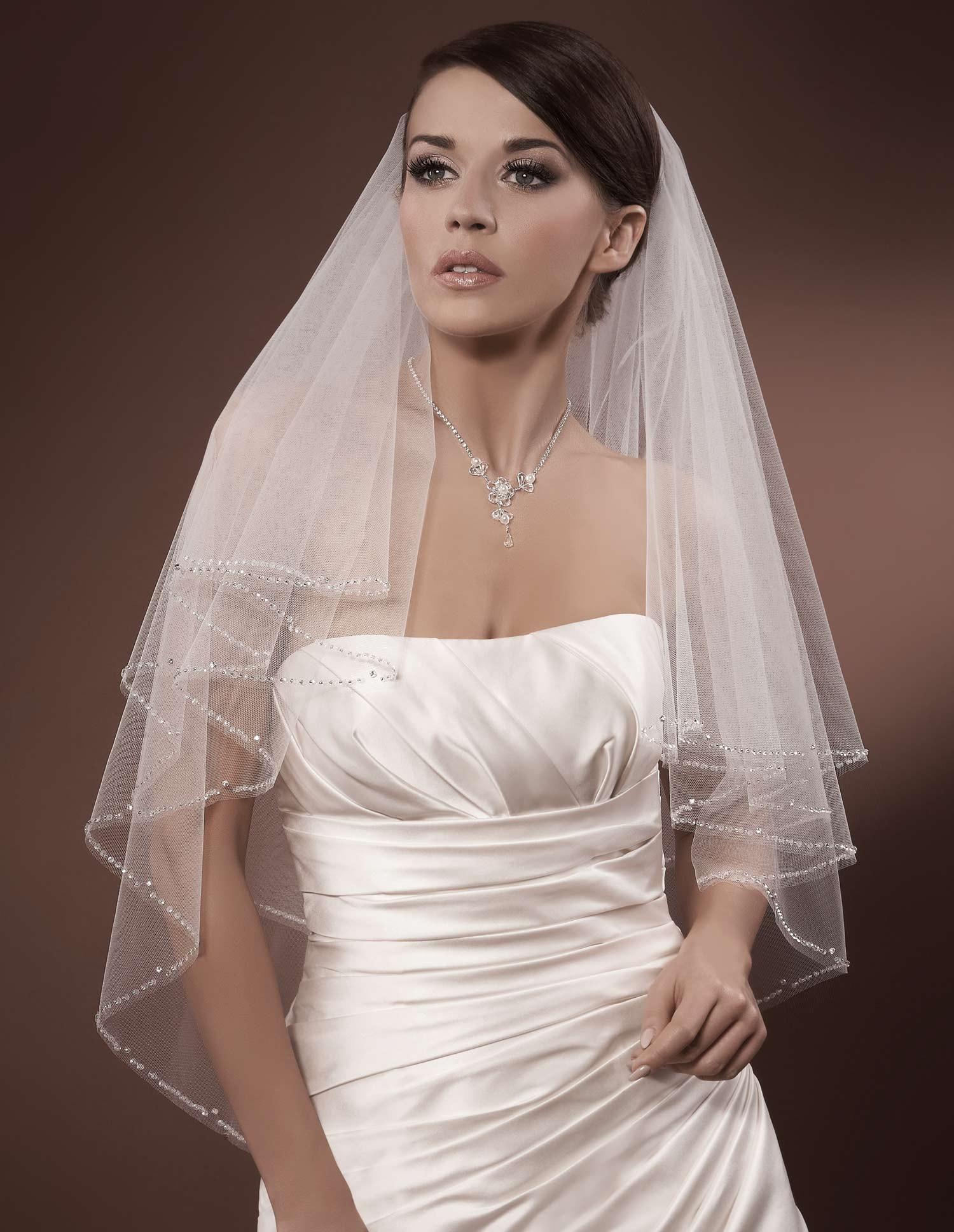 voile de mariage tulle italien ivoire ou blanc perles de. Black Bedroom Furniture Sets. Home Design Ideas