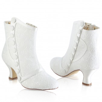 Bottines mariage ivoire broderies anglaises Nelly