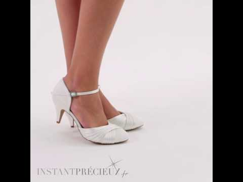 Chaussures mariage satin ivoire ou blanc Lilly