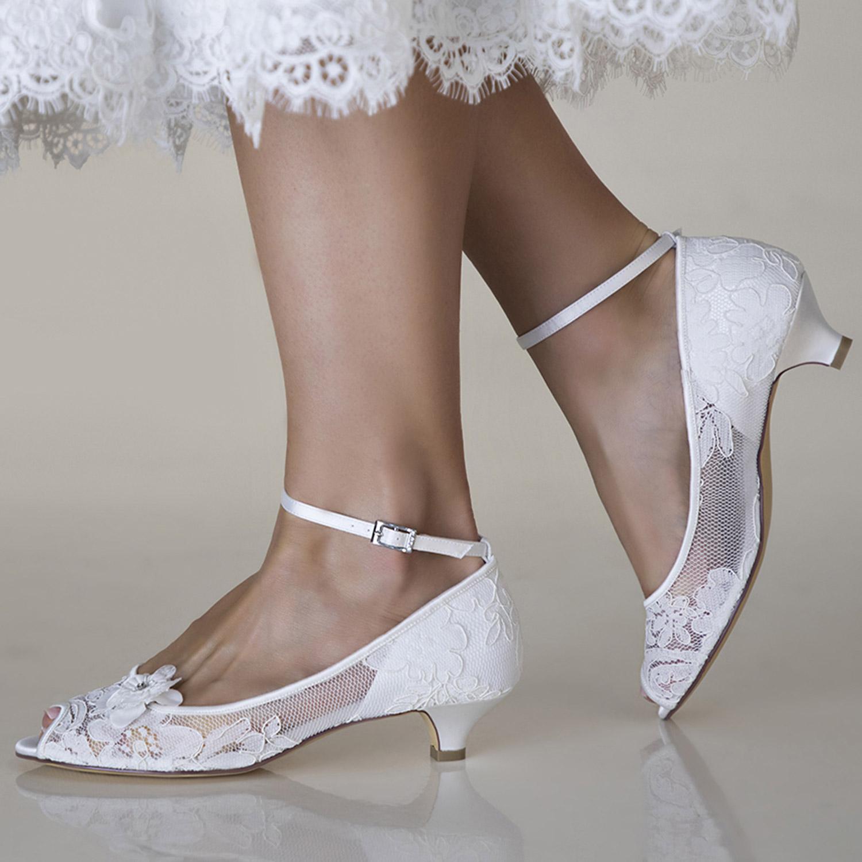 Chaussure mariage petit talon dentelle transparente Maya