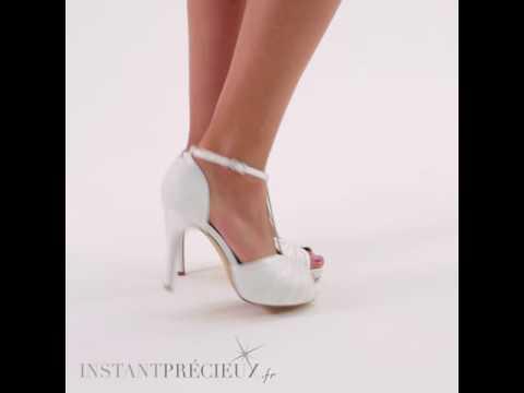 Chaussures mariage bout ouvert en dentelle Scarlett