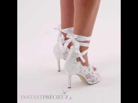 Chaussures mariage dentelle ivoire à nouer Violet