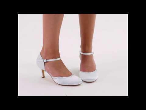Chaussures mariage satin et bordure en cristal Adele